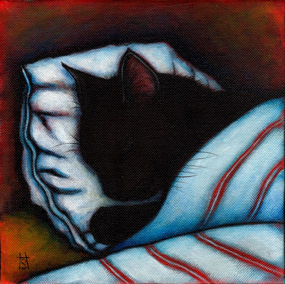 Black Cat takes a Nap. Set of 5 notecards