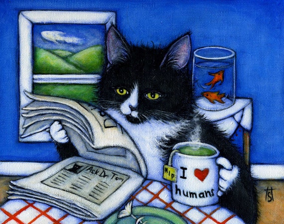 5 Assorted Cat Art blank notecards; your choice