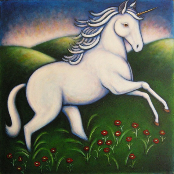 Unicorn original oil painting by Heidi Shaulis