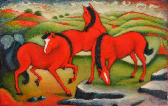 The Red Horses. Heidi Shaulis original oil painting