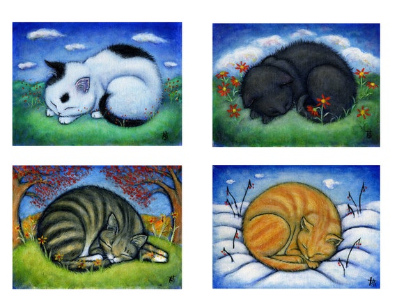 Cat cards. The 4 Seasons. Set of 5