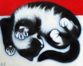 Tuxedo Cat art print.  Charlie Paws. 8x10