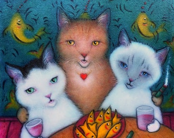 Girls Night Out.  Original Heidi Shaulis cat oil painting