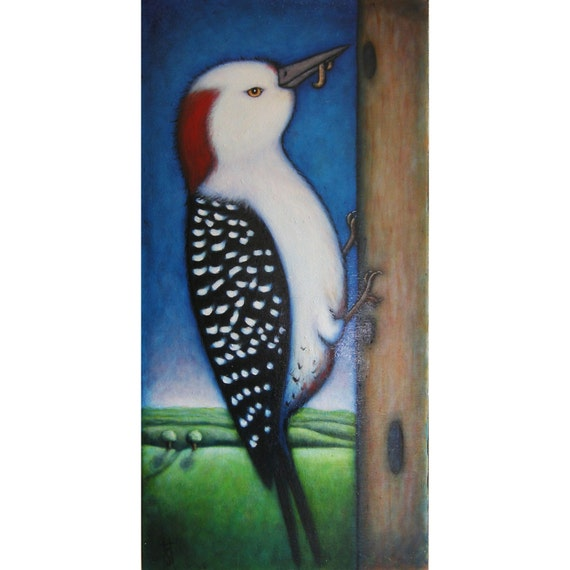 Original bird oil painting.  Red-bellied Woodpecker