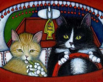 Tuxedo and Tabby cat art print. Charlie's Pet Peeve