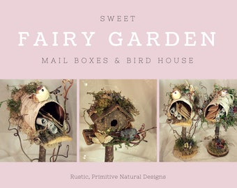 Fairy Mailbox and Letters~Garden Accessories Garden Fairies Fairy Furniture Mailbox Natural Fairy Bark Mailbox~Fairy Garden Furniture