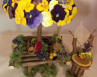 Fairy Garden Table Set~Natural Fairy Table with Chair~Fairy Moss Table-Fairy Garden Furniture Fairy House Furniture~Pansies