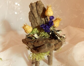 Fairy Garden Chair Natural Fairy Driftwood Chair~Fairy Moss Floral Chair~Fairy Garden Furniture