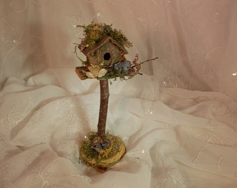 Fairy Birdhouse~Natural Fairy Twig Birdhouse~Fairy Moss Floral Birdhouse~-Fairy Garden Furniture~Fairy Decor