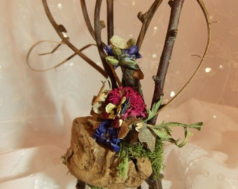 Fairy Garden Chair Natural Fairy Driftwood Chair~Fairy Moss Floral Chair~-Fairy Garden Furniture