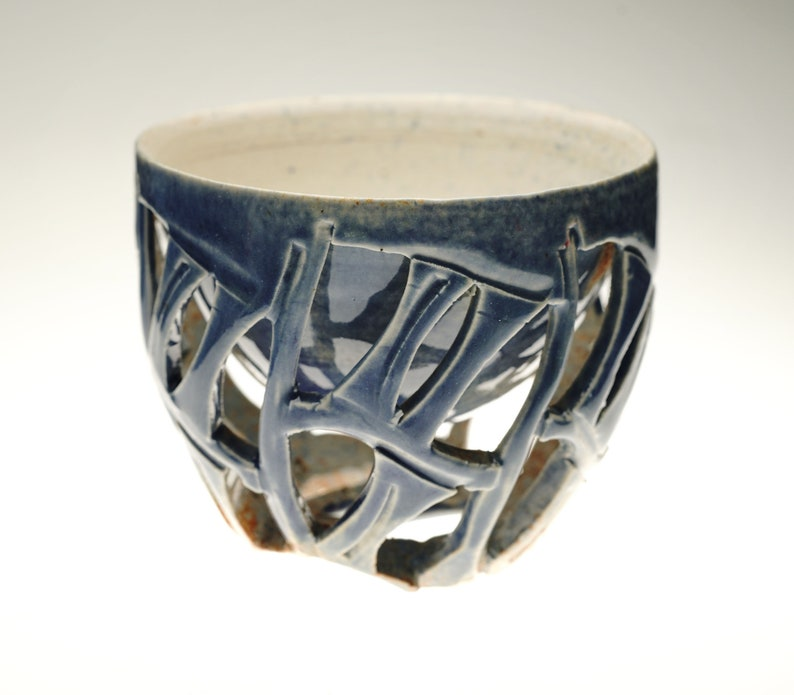 Handcarved ceramic doublewalled Sake cup small teacup Guinomi image 0