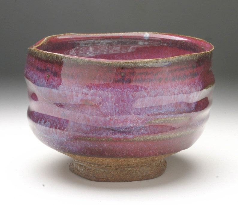 Brilliant red matcha chawan for Japanese green tea image 0