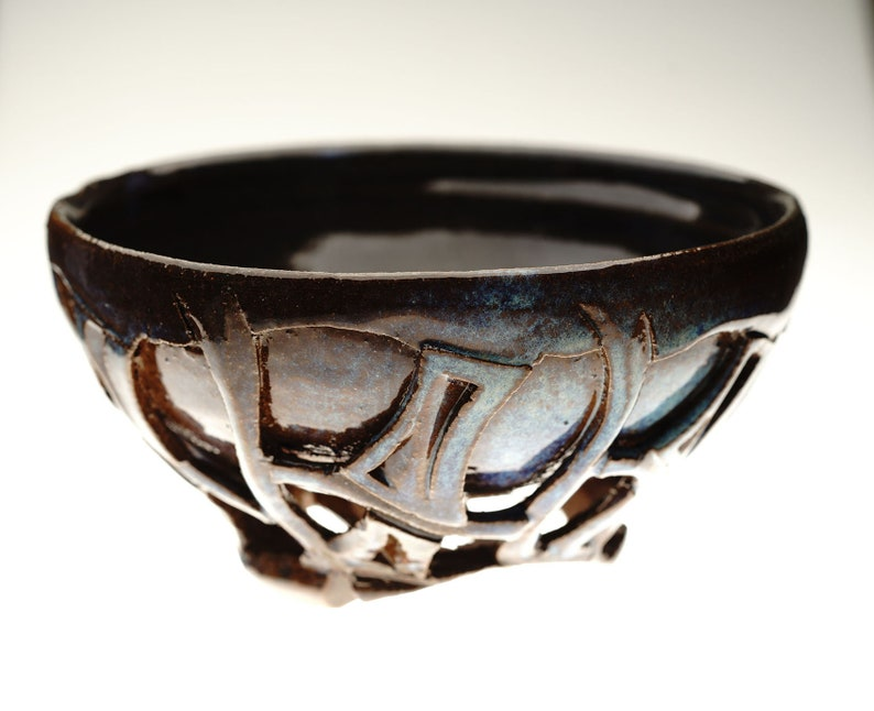 Handcarved Ceramic Doublewalled matcha chawan for green tea by image 0