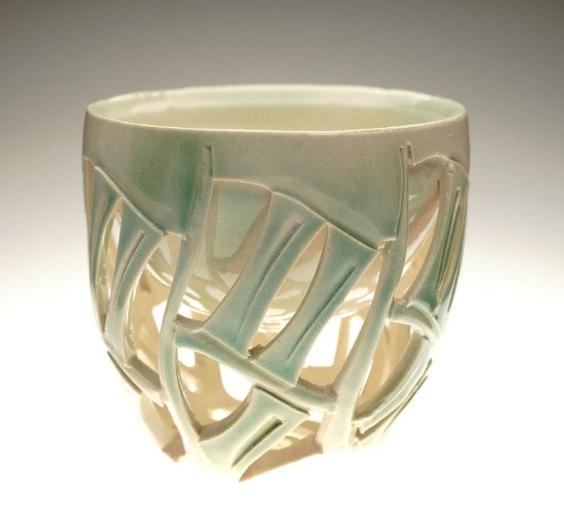 Oribe Green infused Handcarved Doublewalled ceramic yunomi image 0