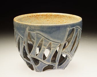 Blue doublewalled yunomi tea cup guinomi whiskey cup handthrown ceramic art Cory Lum Hawaii
