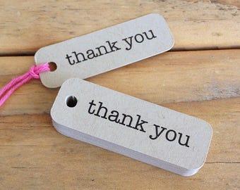 Mini Kraft Thank You Tags Typewriter Gift Packaging Wedding