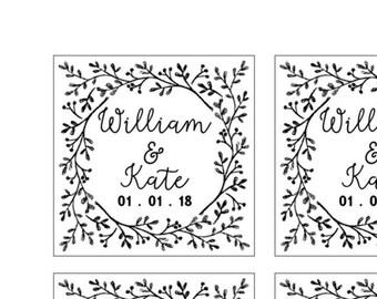 PRINTABLE PDF Square Laurel Wedding Favor Tags Bridal Shower Floral Print at Home DIY