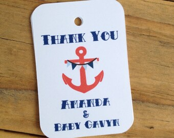 Vintage Sailor Baby Shower Thank You Favor Tags Gift Navy Anchor Personalized