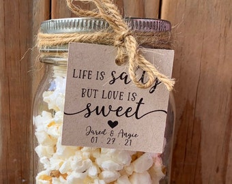 Life is Salty but Love is Sweet Rustic Popcorn Wedding Favor Tags Trail Mix Nuts