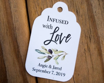 Infused With Love Olive Oil Wedding Favor Tags Olive Branch