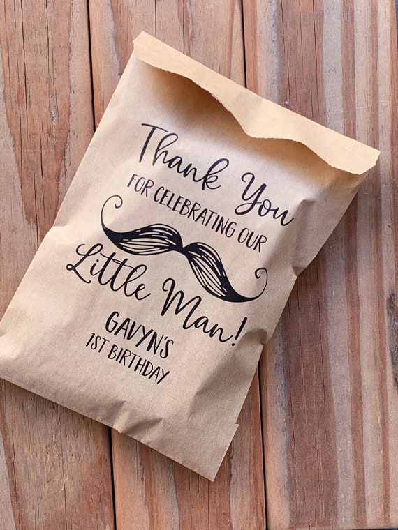 Little Man Mustache Kraft Favor Thank You Treat Bags Personalized Baby  Shower Birthday