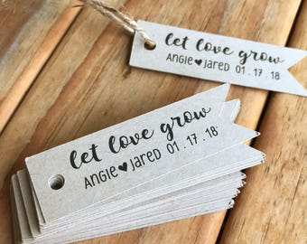Let Love Grow Wedding Favor Tags Succulent Plant Seeds Bridal Shower