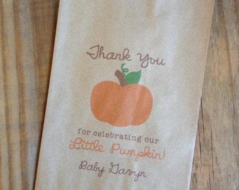 Little Pumpkin Favor Bags Fall Baby Shower Birthday