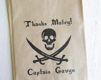"25 Custom Pirate Birthday Favor Bags Jolly Roger 5""x7.5"""