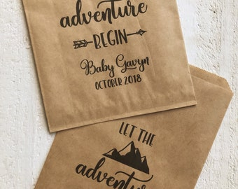 Let The Adventure Begin Wedding Favor Baby Shower Bon Voyage Treat Bags Personalized