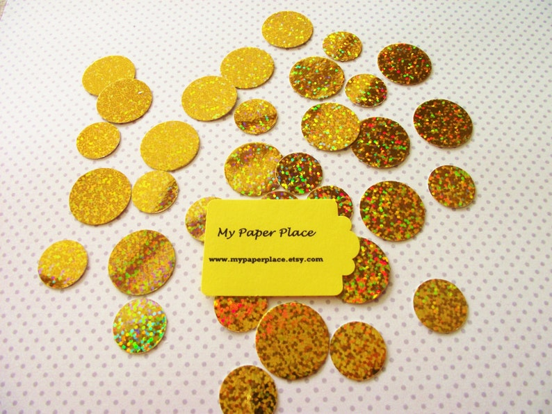 Shower Decoration-Party Decor-Table Scatter 100 Gold IridescentHolographic Polka Dot Confetti-Wedding Confetti