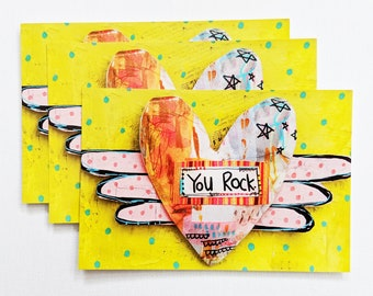 You Rock music gift bunny postcard animal print Motivational Postcard Katie Abey Ozzy Osbourne