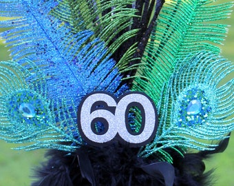 peacock themed centerpiece personalized with age blue black green turquoise silver feather chandelle boa