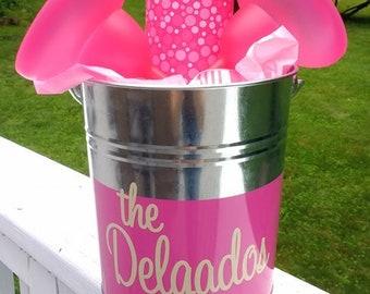 Personalized metal bucket margarita glass mixer gift set
