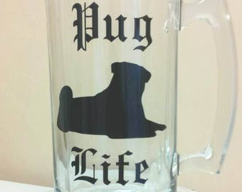 Pug life gangsta gangster dog pet cat animal rescue personalized wine glass pint beer mug coffee