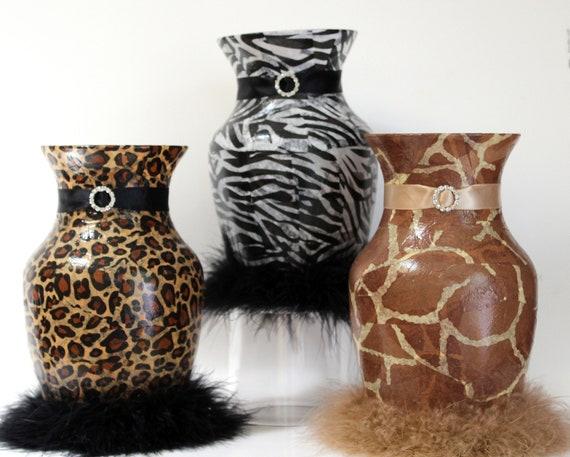 Animal Print Vase Decoupage Leopard Cheetah Giraffe Zebra Etsy