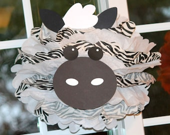 Zebra pom pom kit king of the jungle safari noahs ark carnival circus baby shower first birthday party decoration