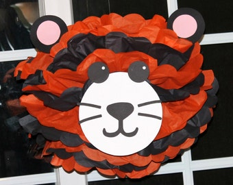 Tiger pom pom kit king of the jungle safari noahs ark carnival circus baby shower first birthday party decoration