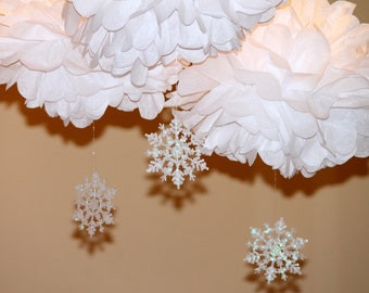 Snowflake pom pom kit  SET OF THREE  baby shower first birthday party decoration Winter Wonderland ONEderland
