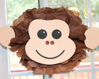 Monkey pom pom kit king of the jungle safari noahs ark carnival circus baby shower first birthday party decoration