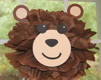 Bear teddy bear pom pom kit king of the jungle safari noahs ark carnival circus baby shower first birthday party decoration