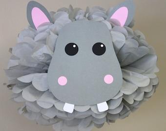 Hippo Hippopotamus pom pom kit jungle safari noahs ark carnival circus baby shower first birthday party decoration