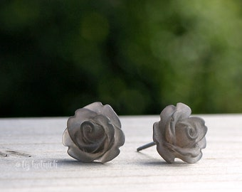 Frosted Gray-Black Mini Rose Studs, Semi Translucent Rosette Earrings, Bohemian, Gothic, Titanium Posts or Stainless Steel Posts