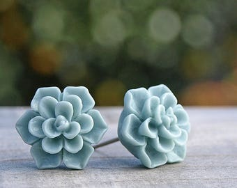 Succulent Stud Earrings  in Pale Mint, Choose Titanium or Stainless Steel, 12mm