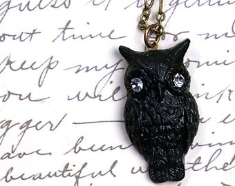 Black Resin Owl Necklace, Bohemian, Vintage Style