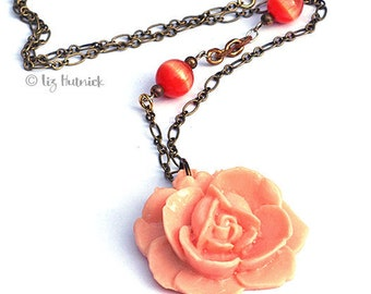 Peach Rose Necklace. Bohemian. Hippie Chic.