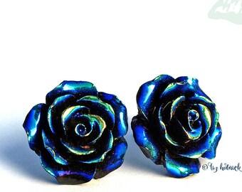 Oil Slick Black Rose Stud Earrings. Titanium Posts.
