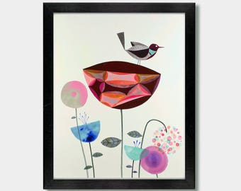 Bird Art - Ready. Bird Prints, Bird Artwork, Bird Lover, Wildflowers, Floral , Washington, Oregon, Seattle , Garden,