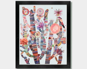 Mexican Folk Art - Modern Tribes. Mexico, Texas, Desert Art, Cactus Print, Southwestern Decor, Mexican Invitation, Bird Chintz, Cactus Art