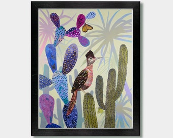 Southwestern Decor - Sonoran Spring - Birds, Cactus Decor, Desert Art, Road Runner, Arizona, Southwestern, Southwest, Mexico, Mexican,