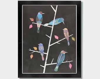 Mid Century Modern - Together As One - Birds, Mid Century Decore, Birds, Boho, Girls Wall, Colorful, Bird Art, Boho Decore, Minimalist